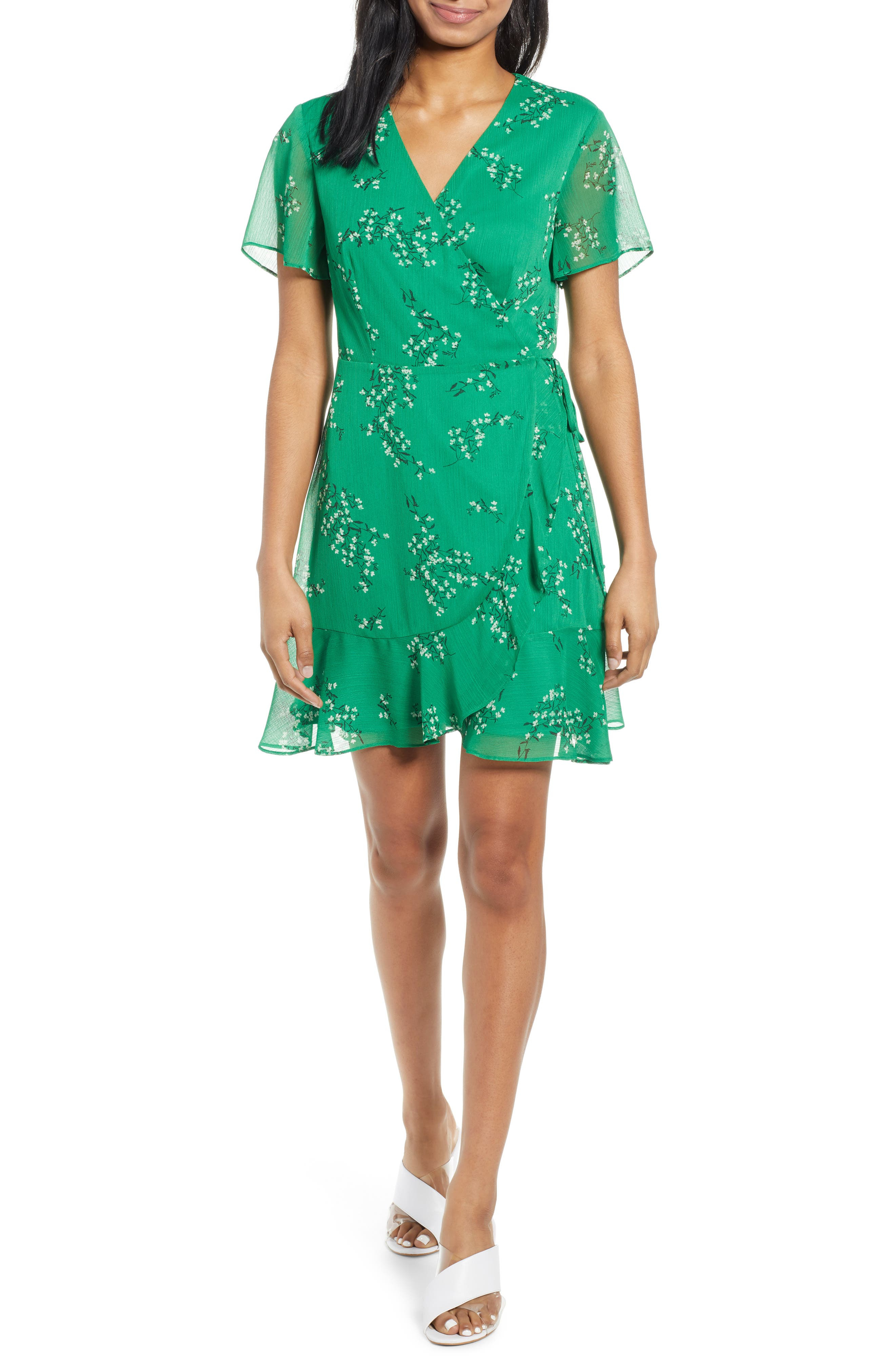 All In Favor Isabella Wrap Dress, Green
