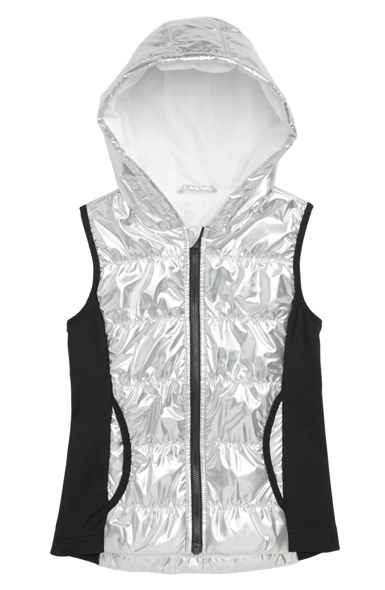 ZELLA GIRL Zella Shine Quilted Hooded Vest, Main, color, 040