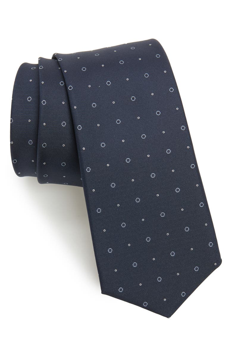 BOSS Medallion Circle Silk Tie, Main, color, NAVY