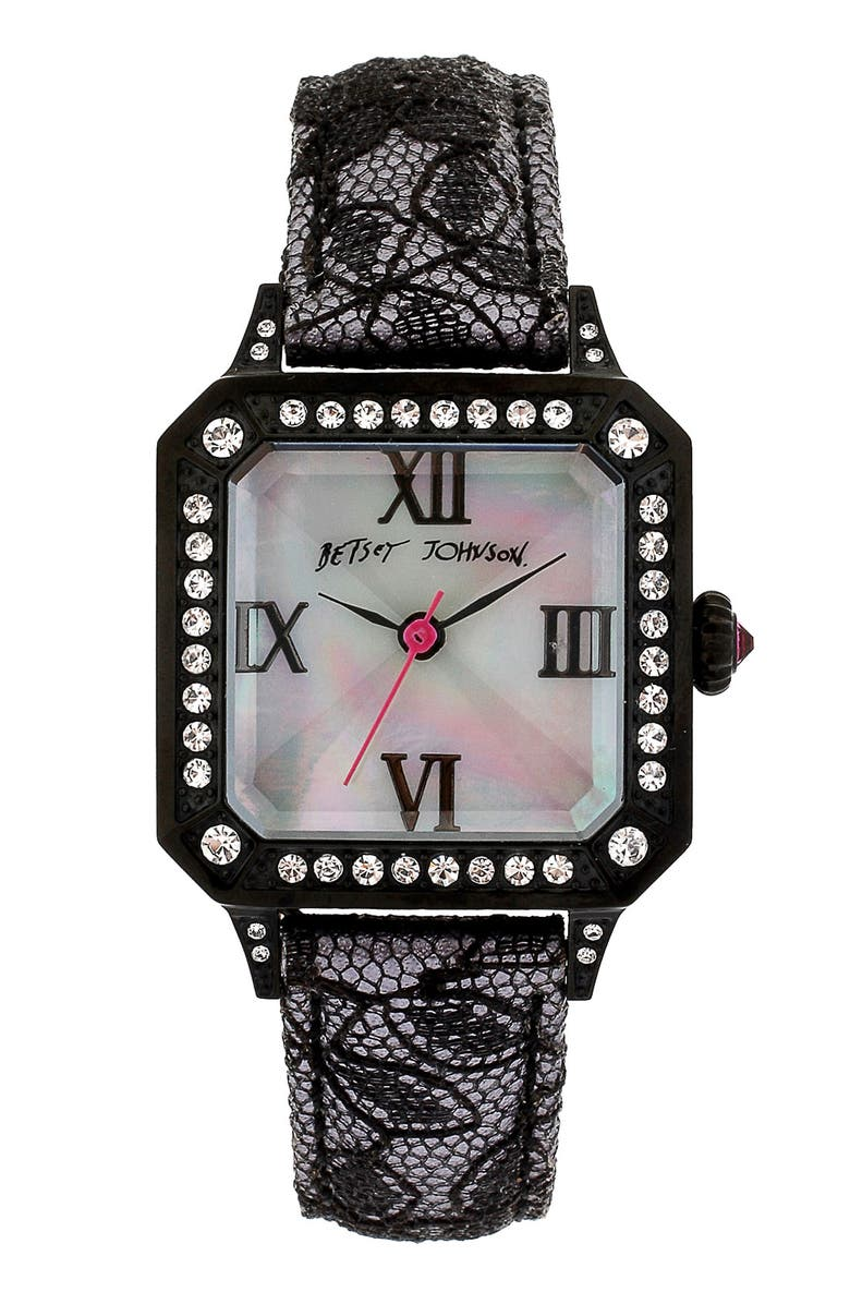 BETSEY JOHNSON Square Dial Lace & Leather Strap Watch, Main, color, Black