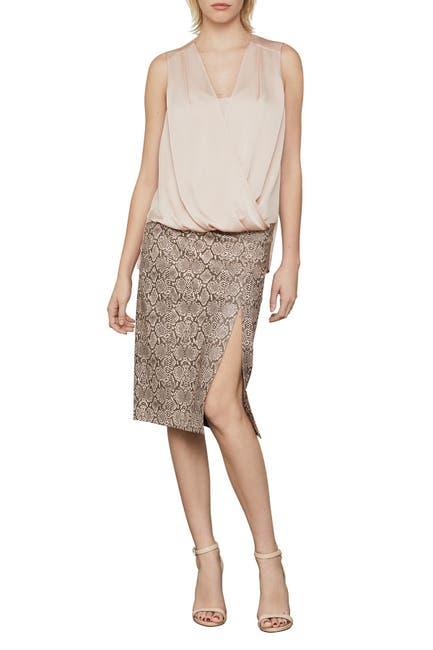 Image of BCBGMAXAZRIA Faux Leather Snake Print Midi Skirt