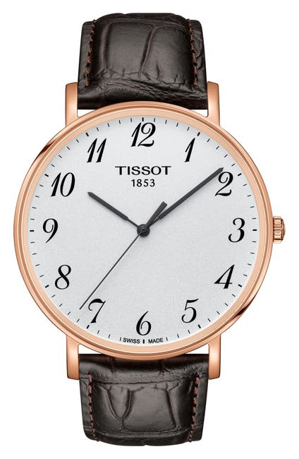 Image of Tissot Men's Every Time Croc Embossed Leather Strap Watch, 42mm