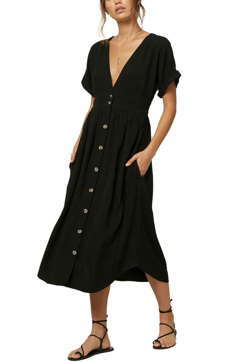 O'NEILL Reid Plunge Neck Midi Dress, Main, color, 001