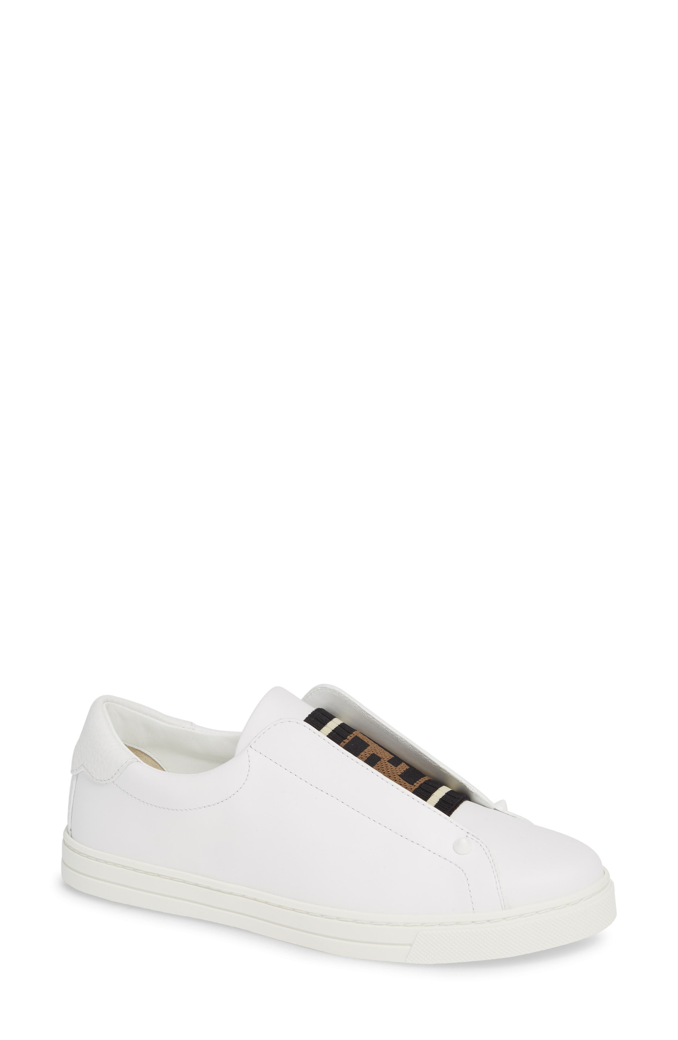 Fendi Rockoclick Knit Logo Slip-On Sneaker, White