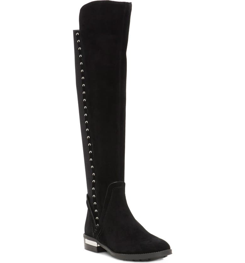 VINCE CAMUTO Pardonal Over-the-Knee Boot, Main, color, BLACK SUEDE