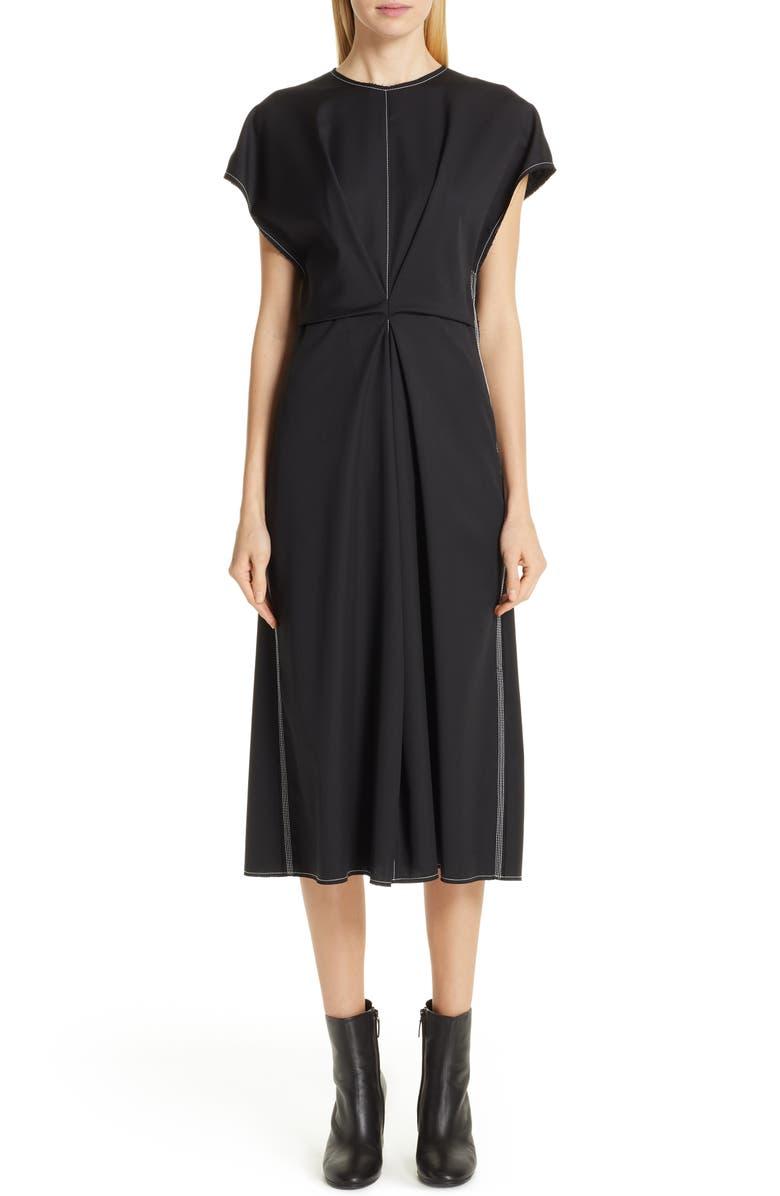 LOEWE Inverted Tuck Draped Dress, Main, color, BLACK