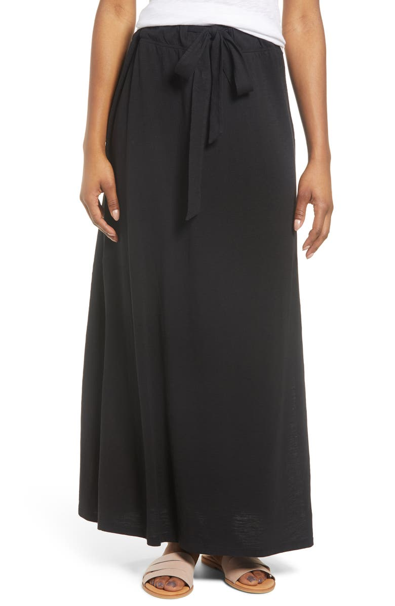 CASLON<SUP>®</SUP> Knit Maxi Skirt, Main, color, BLACK