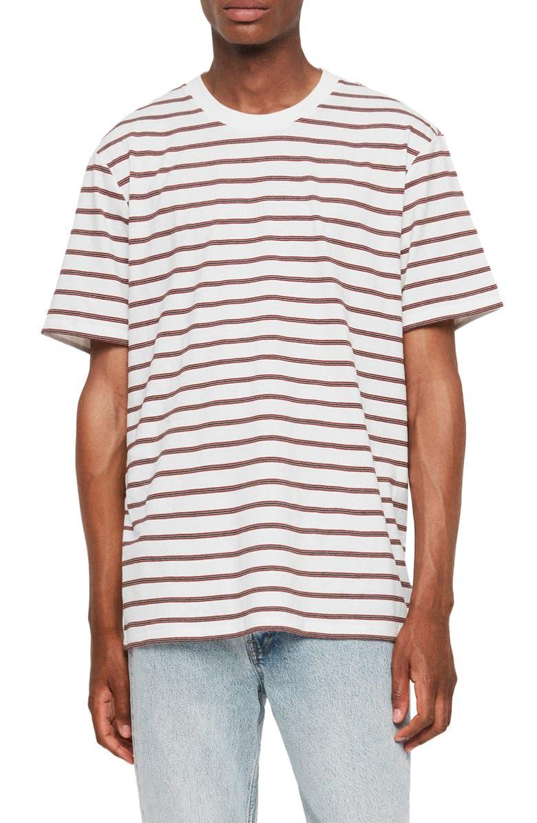 ALLSAINTS Travis Stripe Crewneck T-Shirt, Main, color, CHALK/ RED/ BLACK