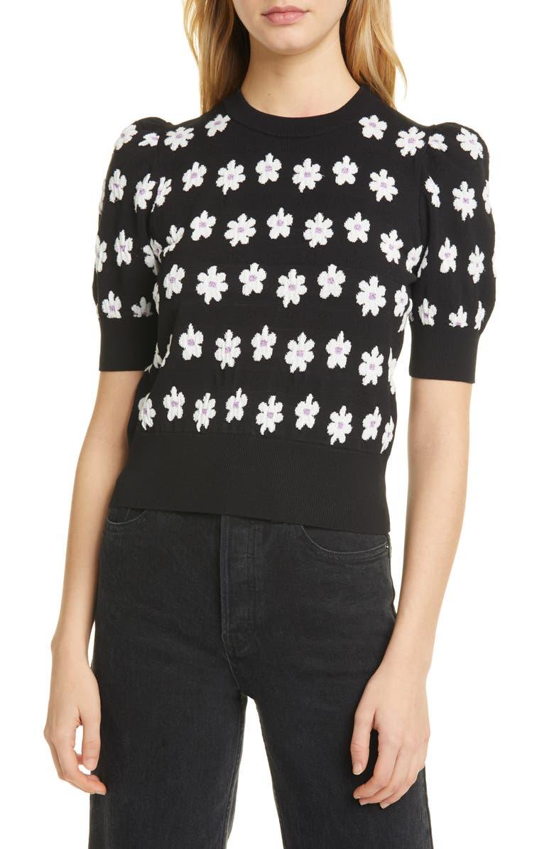 KATE SPADE NEW YORK marker floral sweater, Main, color, BLACK