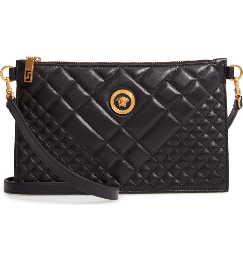 VERSACE Flat Tribute Icon Quilted Crossbody Bag, Main, color, BLACK/ GOLD