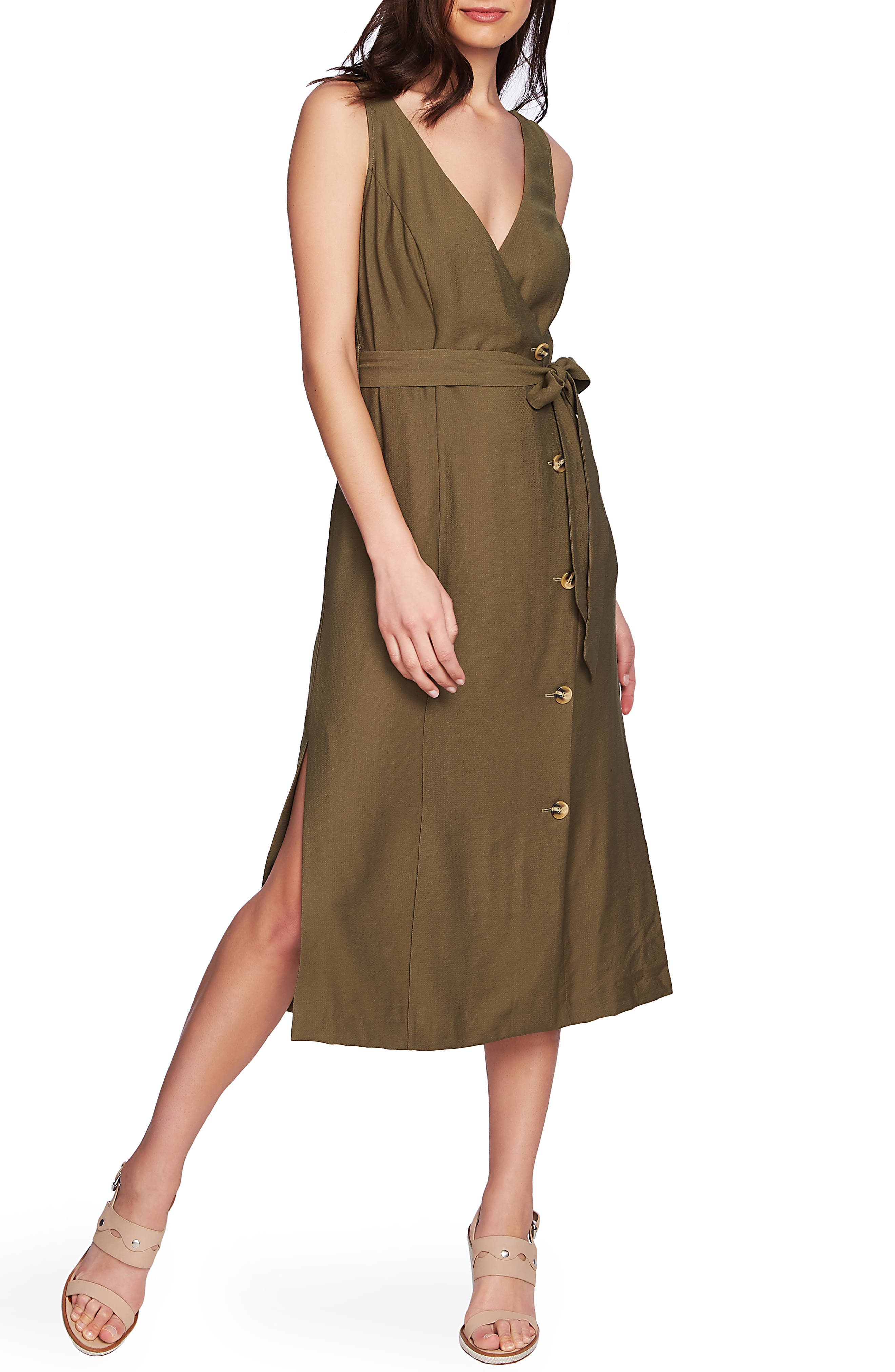 1.state Button Front Sleeveless Faux Wrap Dress, Green