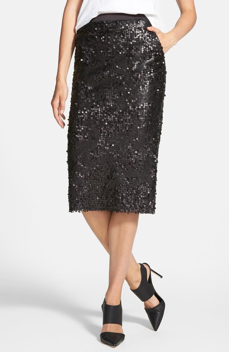 TILDON Sequin Tube Skirt, Main, color, 001