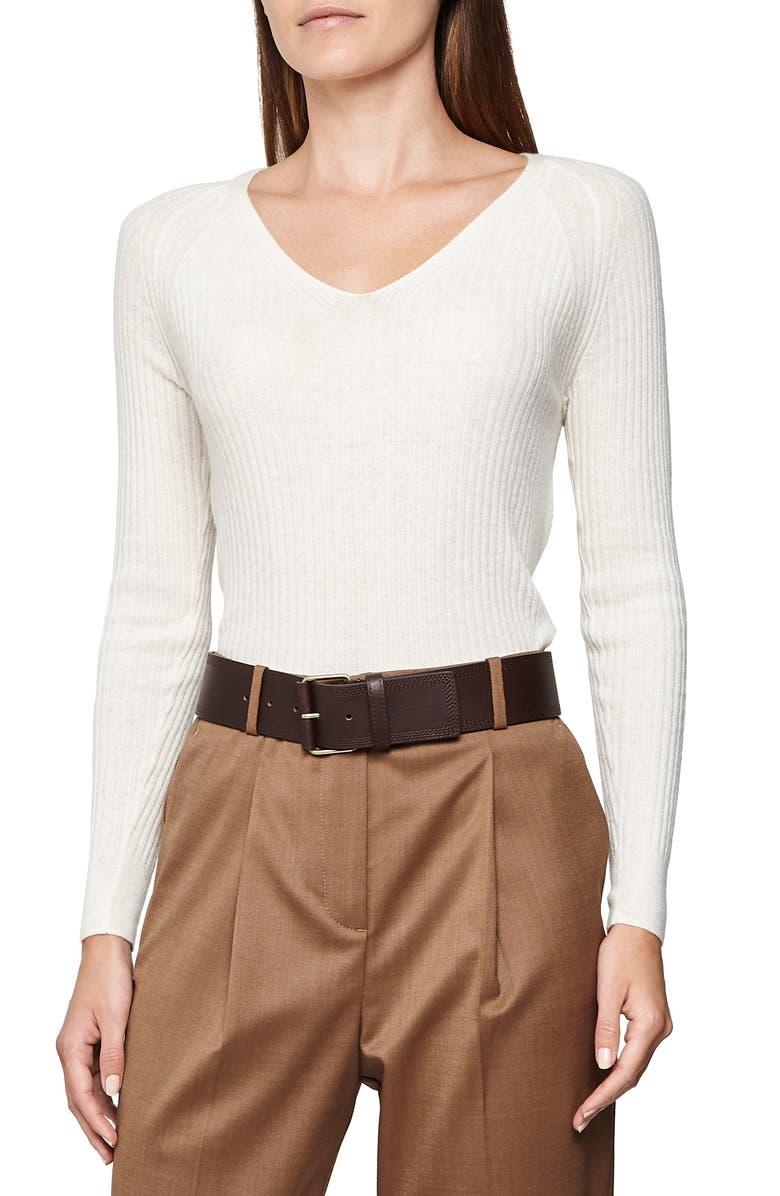 REISS Eloise V-Neck Sweater, Main, color, WHITE