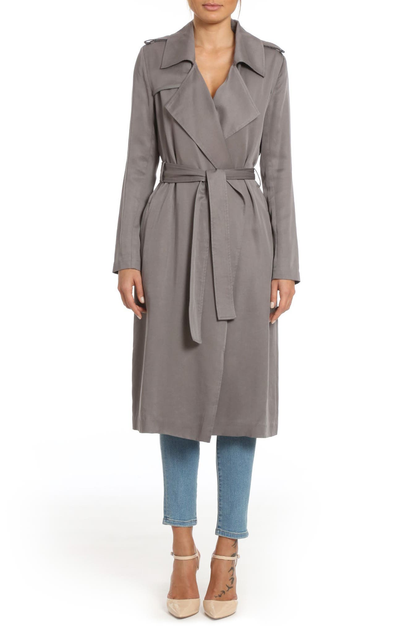 ,                             Badgley Mischka Faux Leather Trim Long Trench Coat,                             Main thumbnail 33, color,                             024
