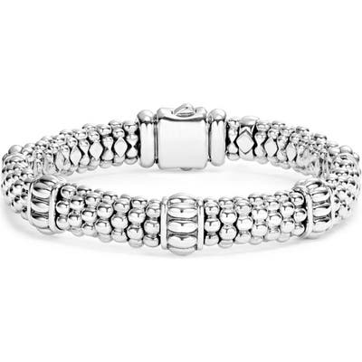 Lagos Fluted Station Caviar Rope Bracelet