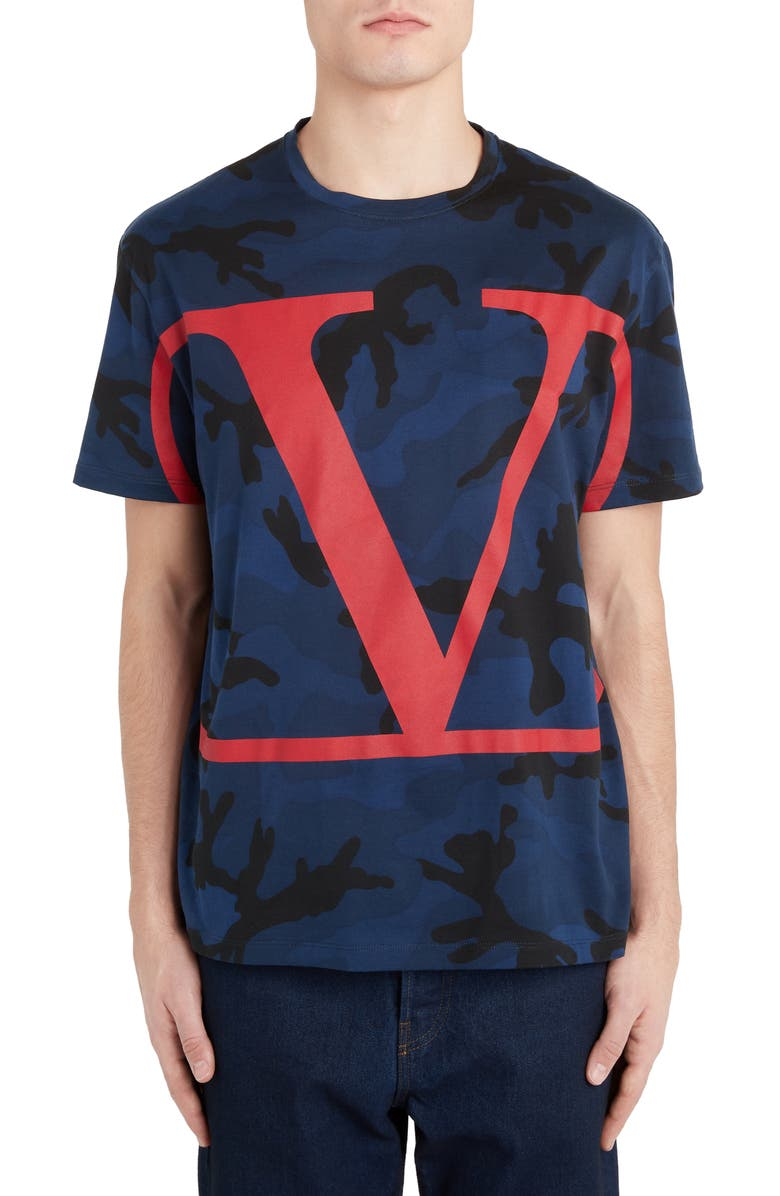 VALENTINO V-Logo Camo T-Shirt, Main, color, MARINE/ SCARLET
