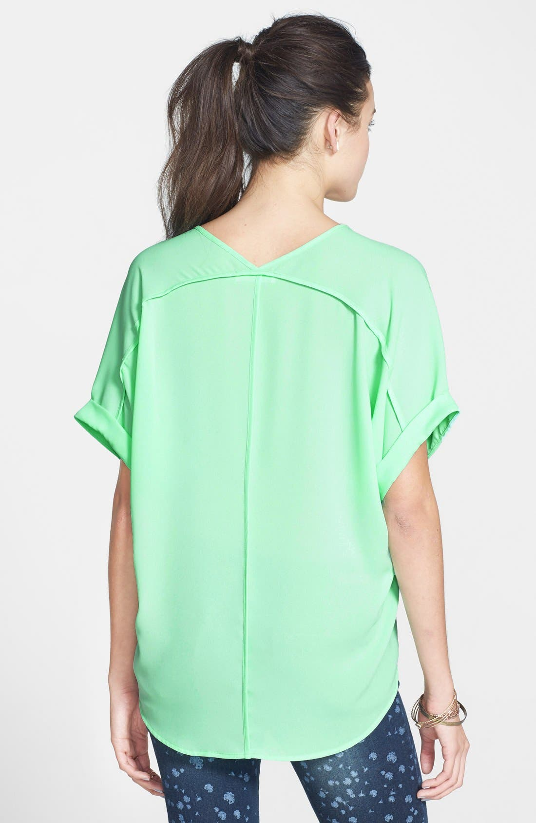 ,                             Lush Cuff Sleeve Woven Tee,                             Alternate thumbnail 47, color,                             303