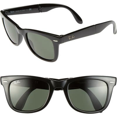 Ray-Ban Standard 50Mm Folding Wayfarer Sunglasses - Black