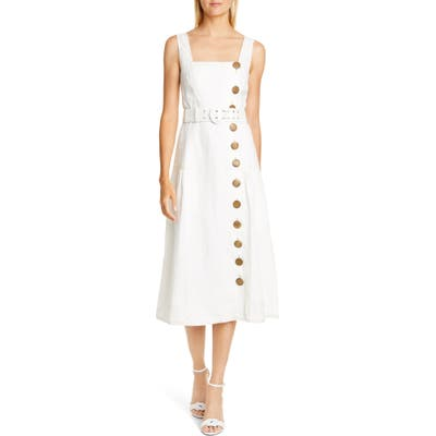 Nicholas Button Front Linen Pinafore Dress, Ivory