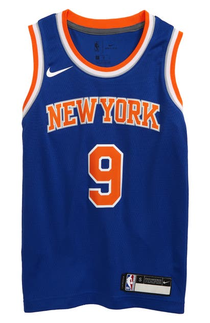 Nike Kids' Dri-fit Nba Icon Edition New York Knicks Rj Barrett Mesh Jersey (big Boy) In Rush Blue