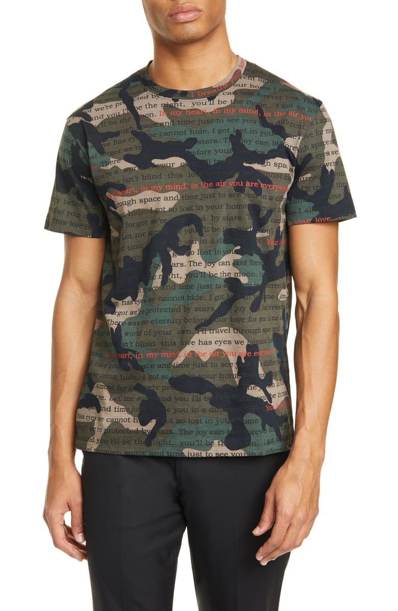 VALENTINO Camoulove Graphic Tee, Main, color, ARMY GREEN MULTI