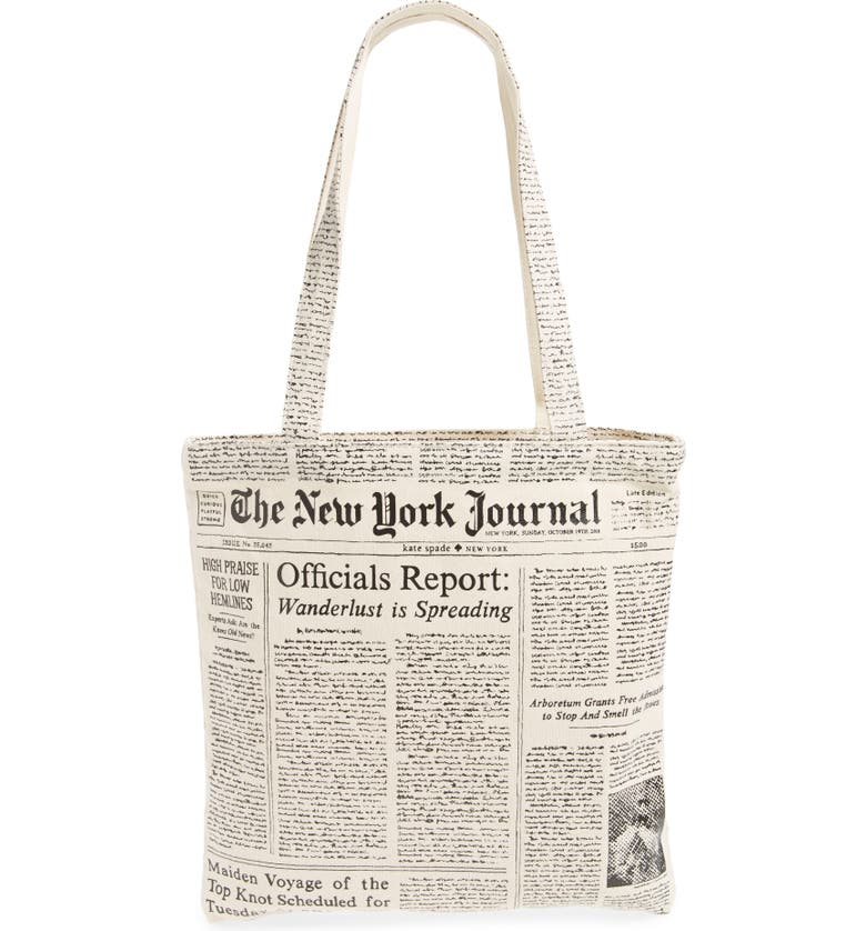 KATE SPADE NEW YORK newspaper print canvas shopping tote, Main, color, 001