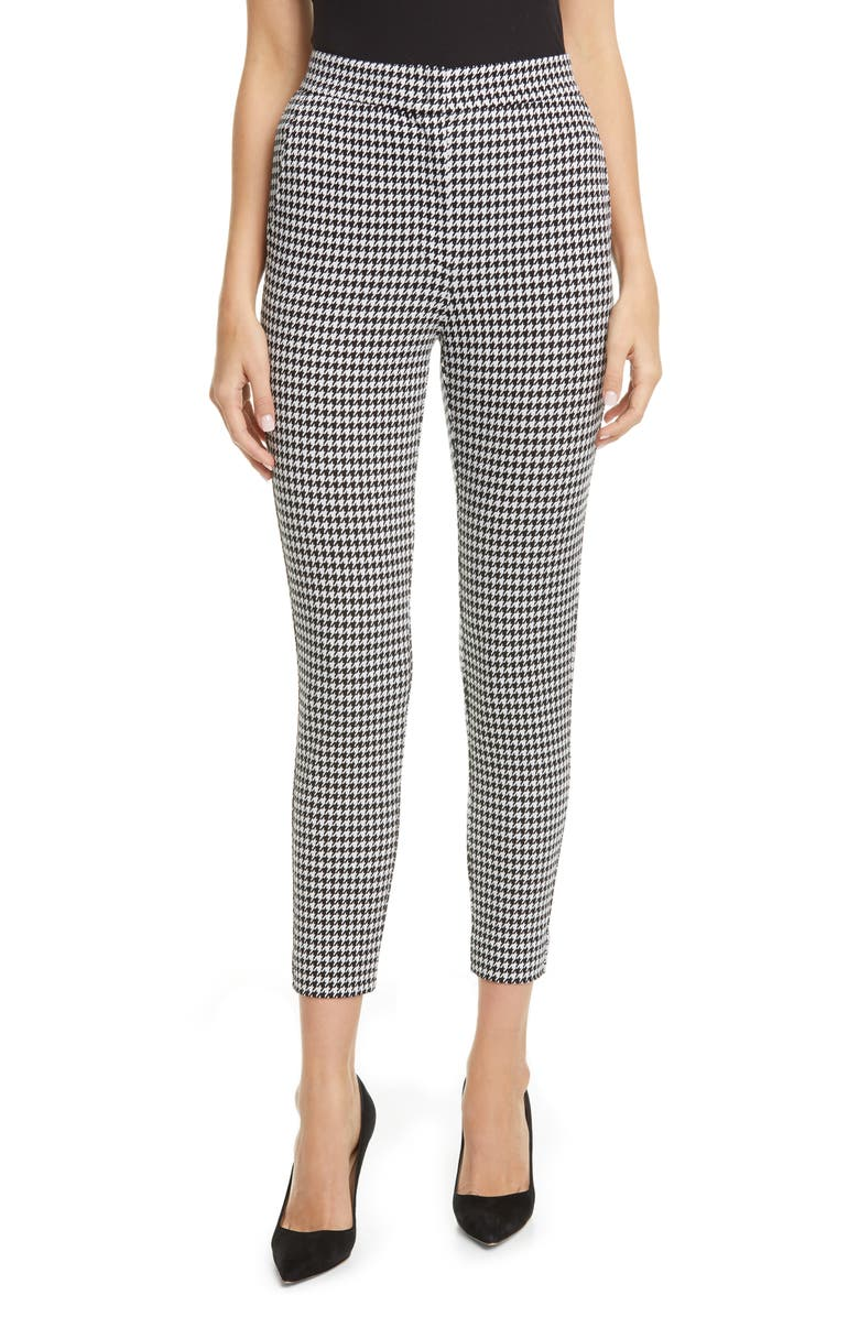 MAX MARA Bruno Houndstooth Knit Ankle Pants, Main, color, BLACK