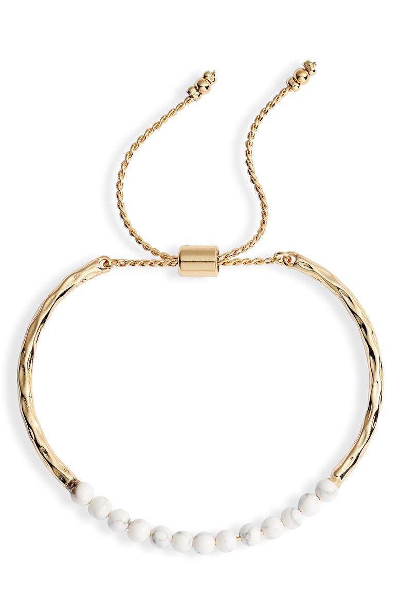 STERLING FOREVER Stone Slider Bracelet, Main, color, GOLD/ WHITE