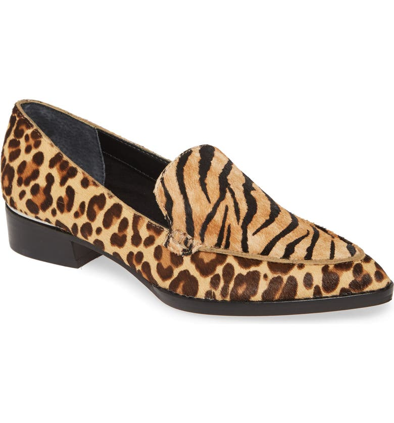 DOLCE VITA Arlene Pointed Toe Genuine Calf Hair Loafer, Main, color, TIGER BROWN CALF HAIR
