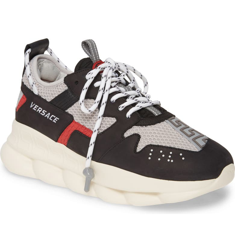VERSACE Chain Reaction Sneaker, Main, color, NERO/ LIGHT GREY/ PASSIO