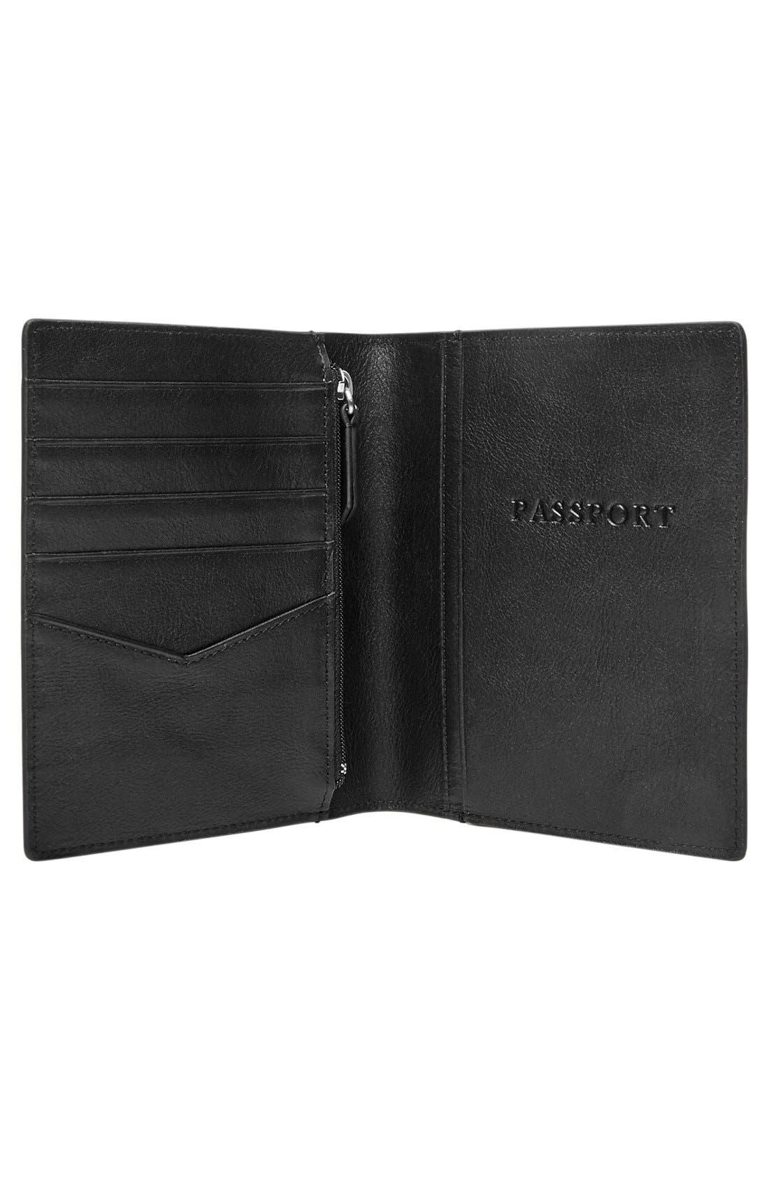 ,                             Leather Passport Case,                             Alternate thumbnail 2, color,                             BLACK
