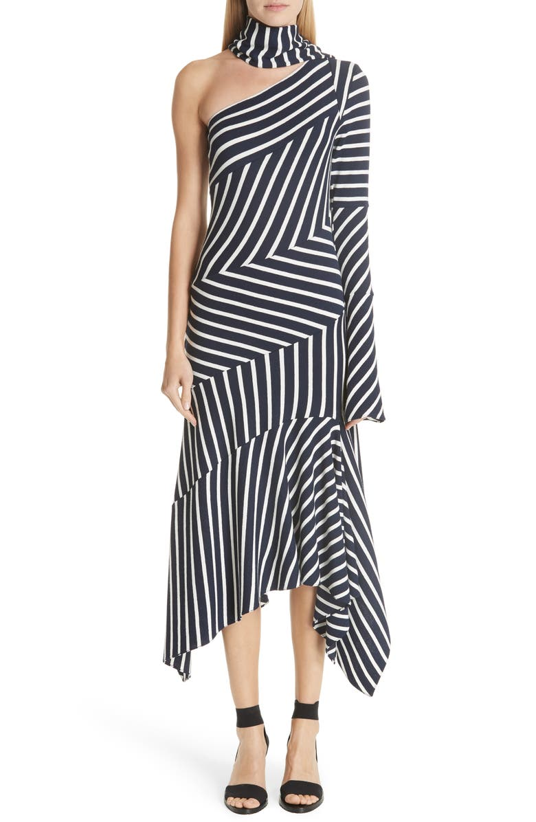 Asymmetrical Stripe Jersey Dress by Monse