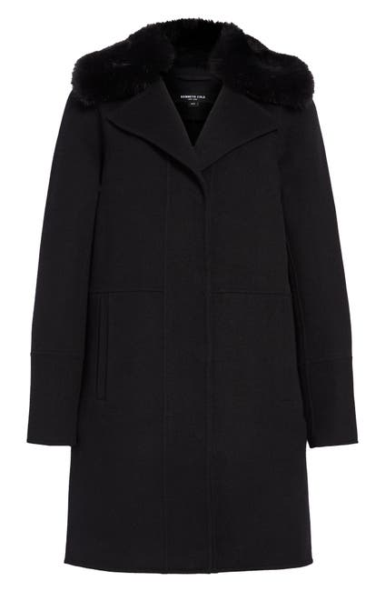 Image of Kenneth Cole New York Double Face Wool Blend Coat with Removable Faux Fur Collar