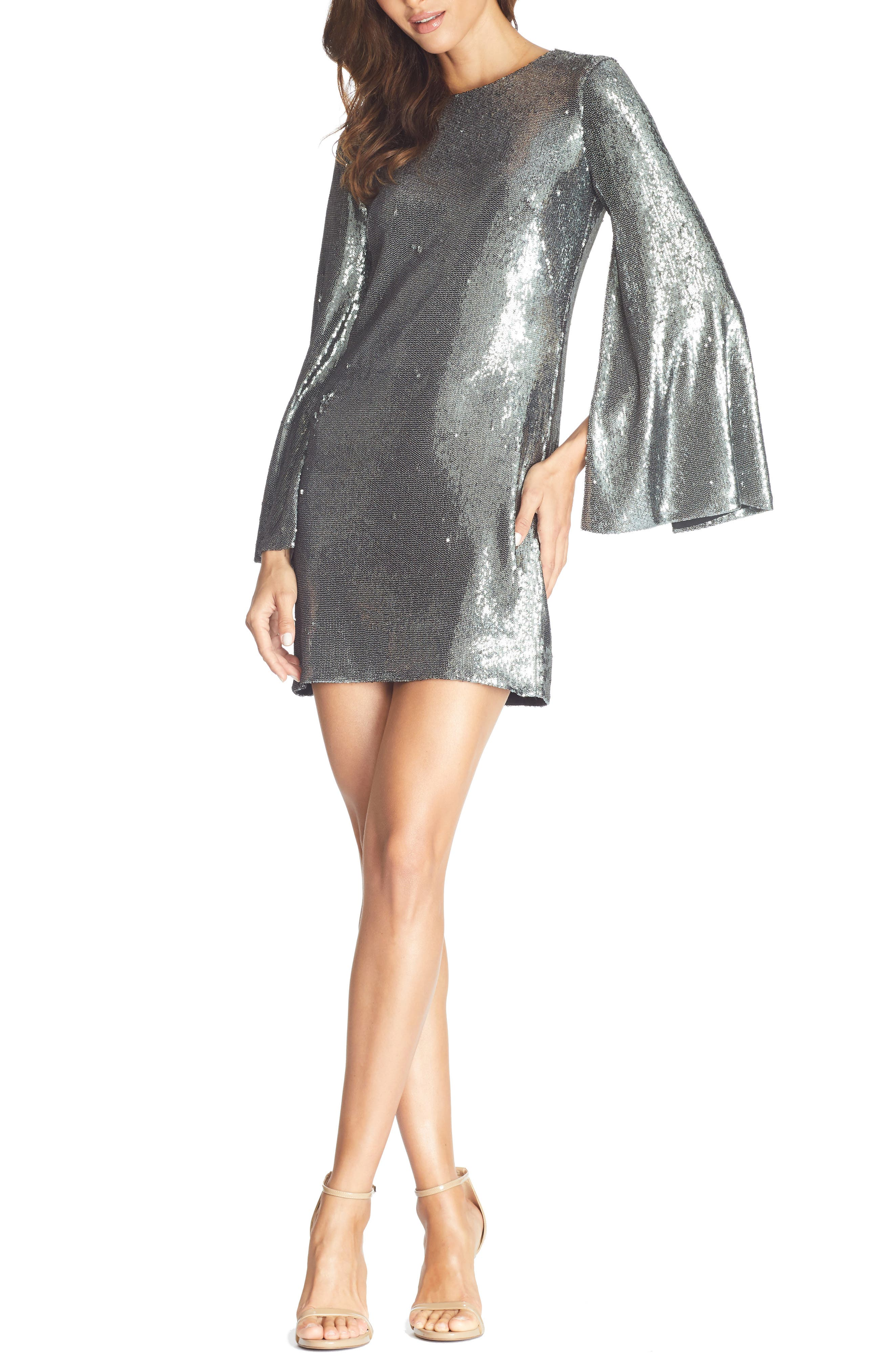 70s Prom, Formal, Evening, Party Dresses Womens Dress The Population Liza Long Cape Sleeve Sequin Minidress Size X-Small - Metallic $248.00 AT vintagedancer.com