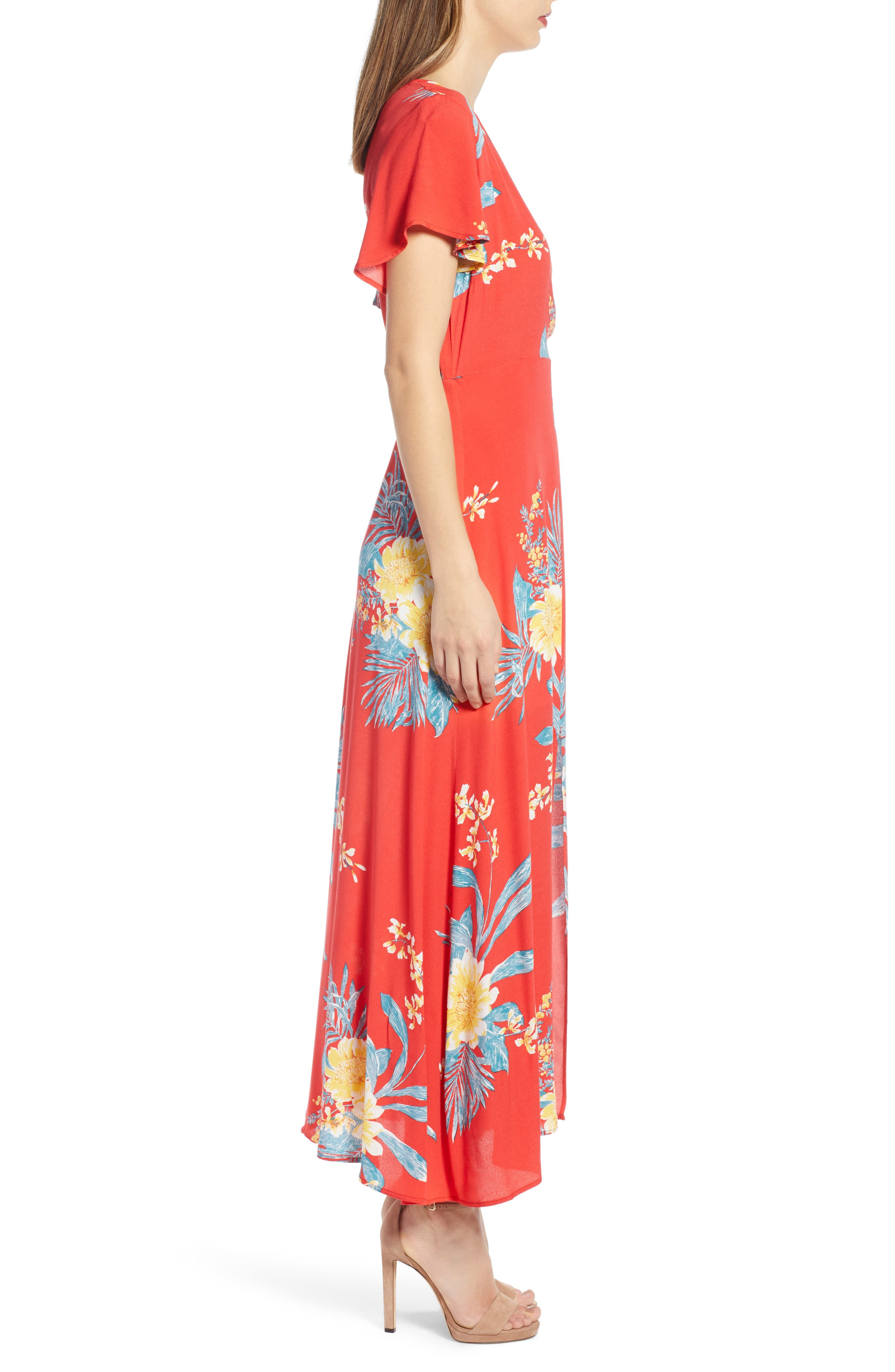 ,                             Surplice Maxi Dress,                             Alternate thumbnail 4, color,                             RED SCARLET ILLUSTRATED FLORAL