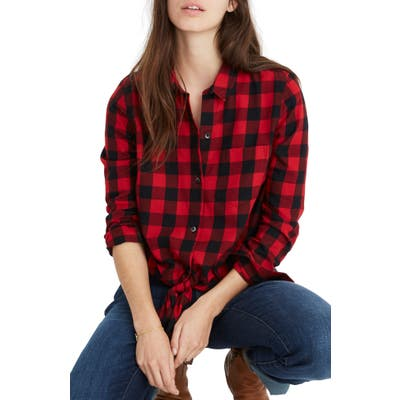 Madewell Buffalo Check Tie Front Flannel Shirt, Red