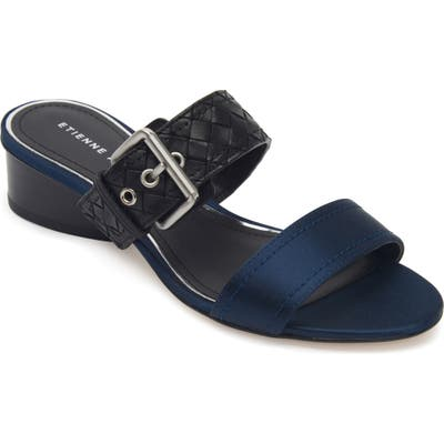 Etienne Aigner Preston Buckle Strap Slide Sandal- Blue