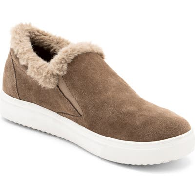 Blondo Gia Faux Fur Trim Waterproof Slip-On Sneaker, Beige