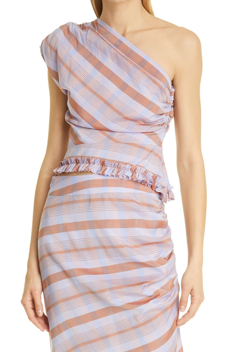 SMYTHE Asymmetrical One-Shoulder Top, Main, color, LAVENDER PLAID