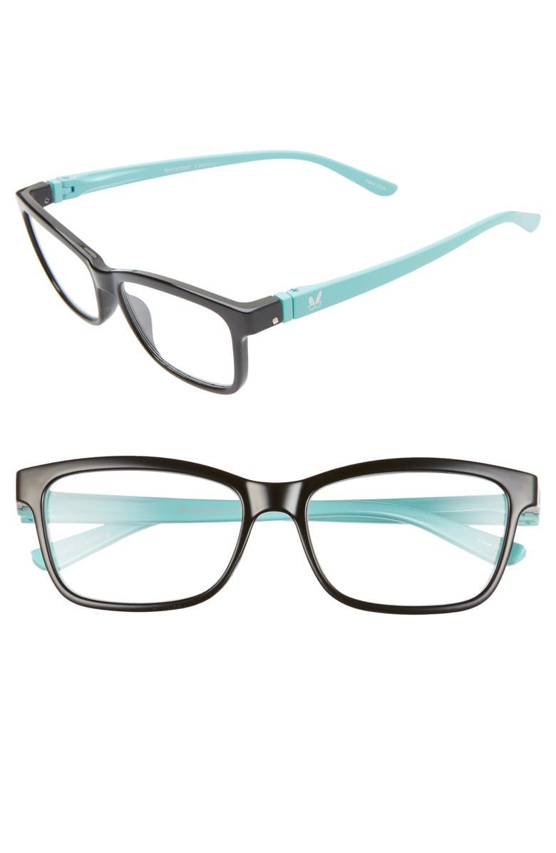 BUNNY EYEZ The Erin 47mm Reading Glasses, Main, color, PITCH BLACK/ BABY BLUE