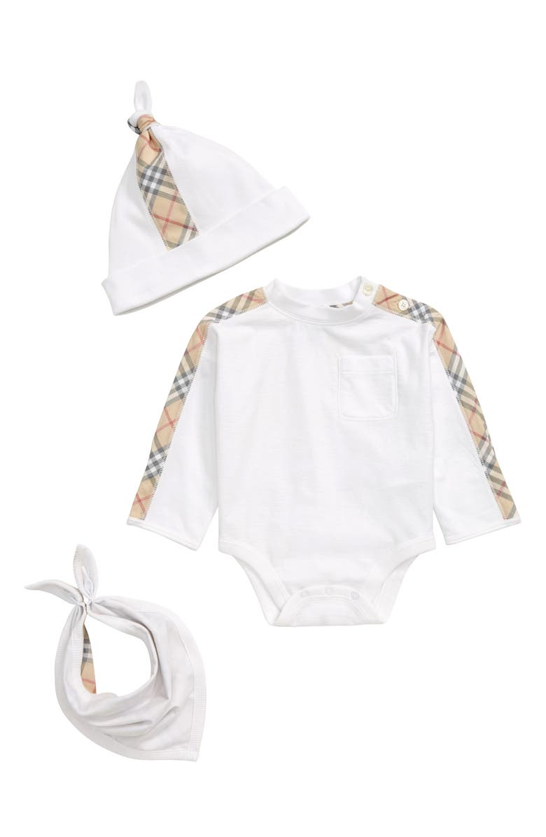 BURBERRY Alby Bodysuit, Hat & Bib Set, Main, color, WHITE