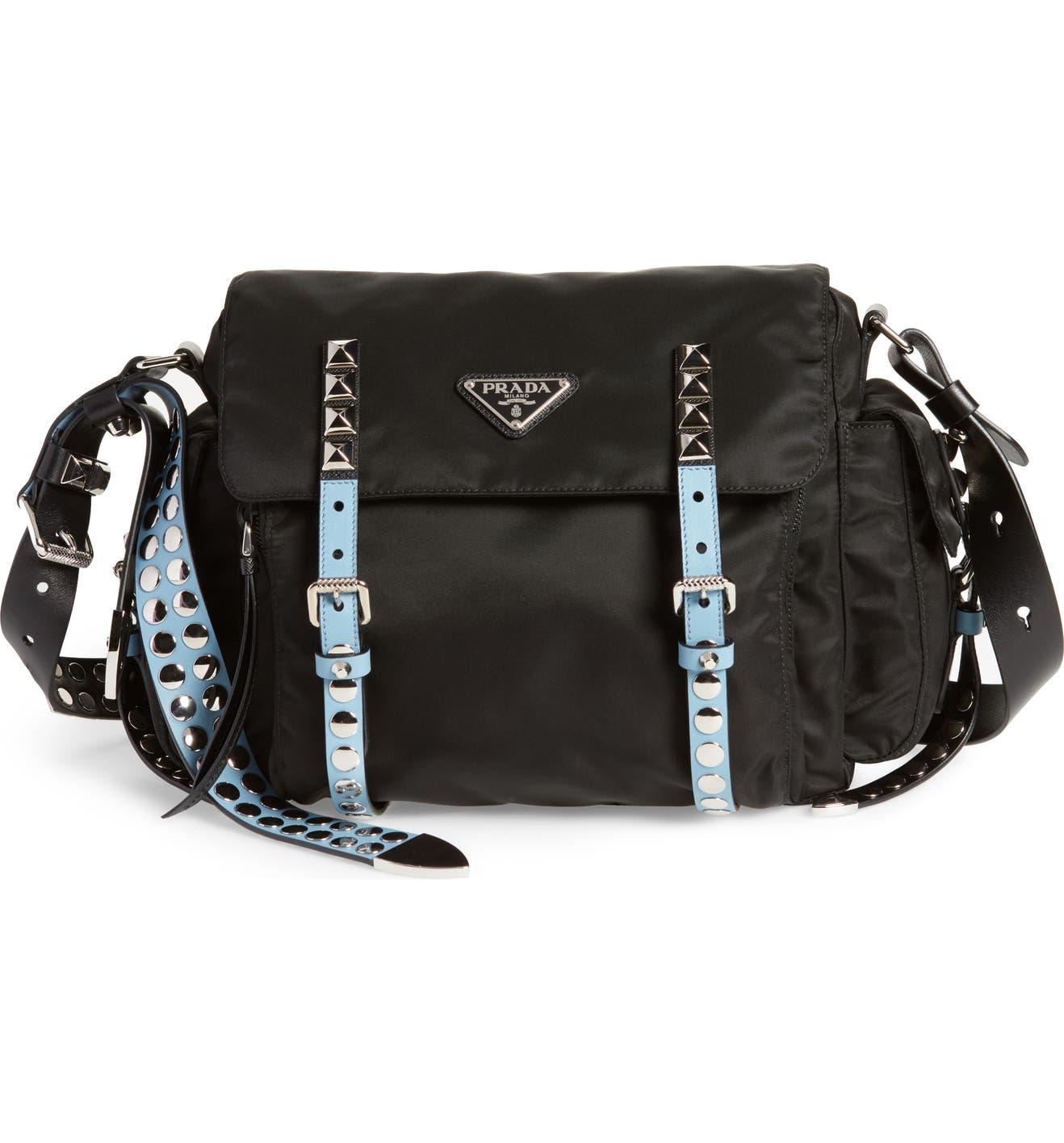 3a4826a487c7d6 Prada Studded Nylon Messenger Bag | Nordstrom