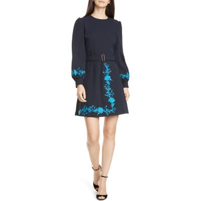 Ted Baker London Zephyra Bluebell Embroidered Long Sleeve Dress, (fits like 14 US) - Blue