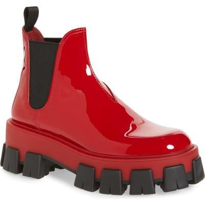 Prada Lug Chelsea Rain Boot - Red