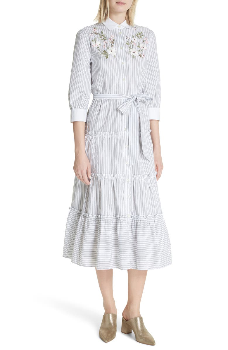 KATE SPADE NEW YORK embroidered ruffle trim shirtdress, Main, color, 016
