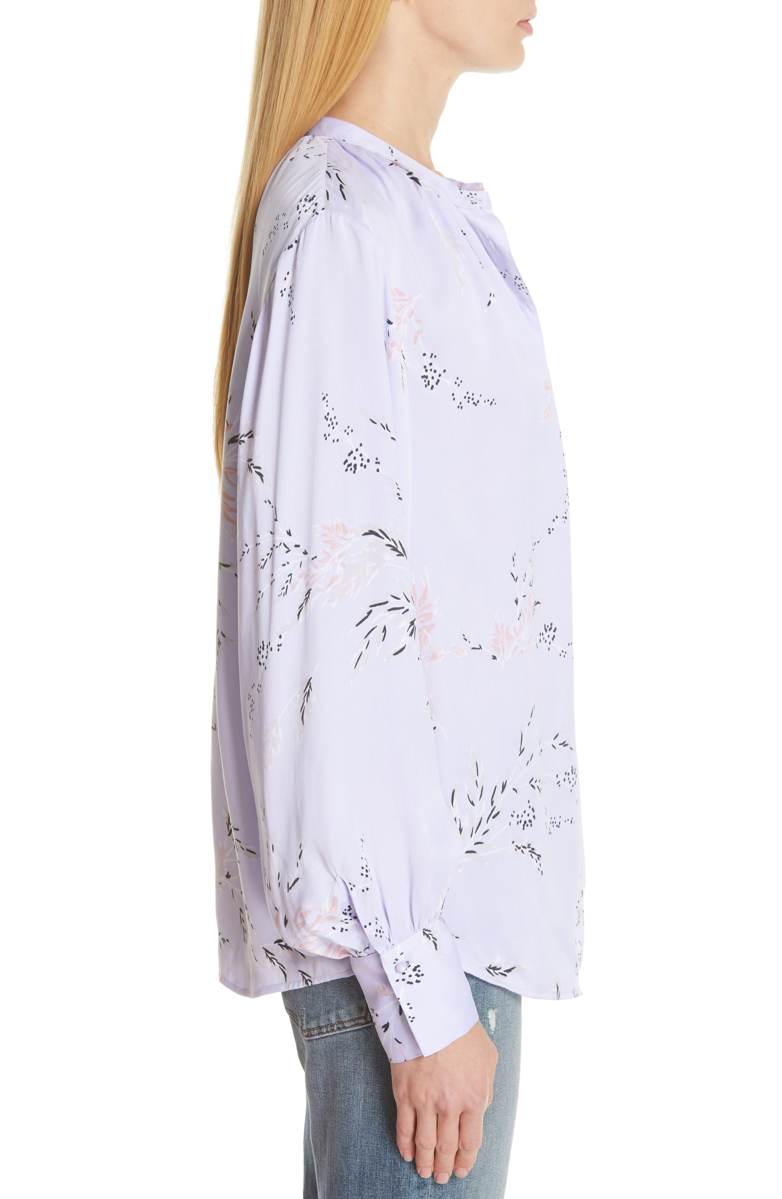 ,                             Causette Silk Blend Shirt,                             Alternate thumbnail 3, color,                             LAVENDER MULTI