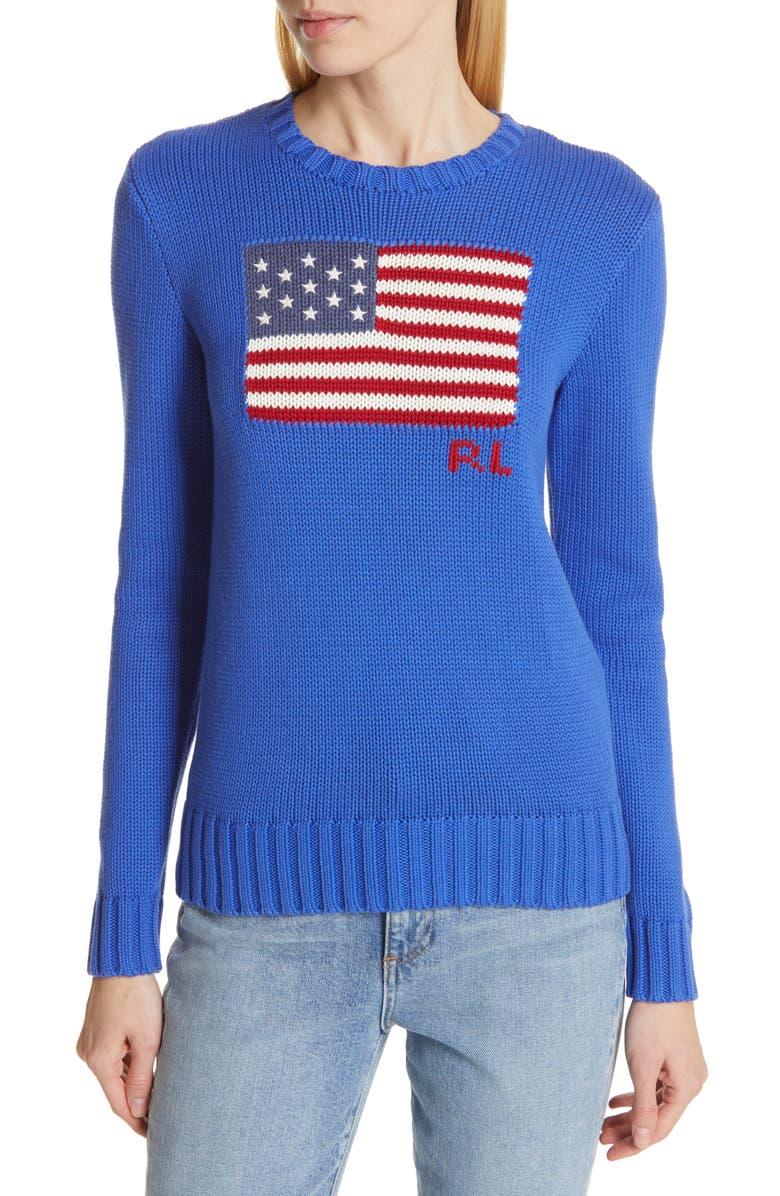 POLO RALPH LAUREN Flag Cotton Sweater, Main, color, 400