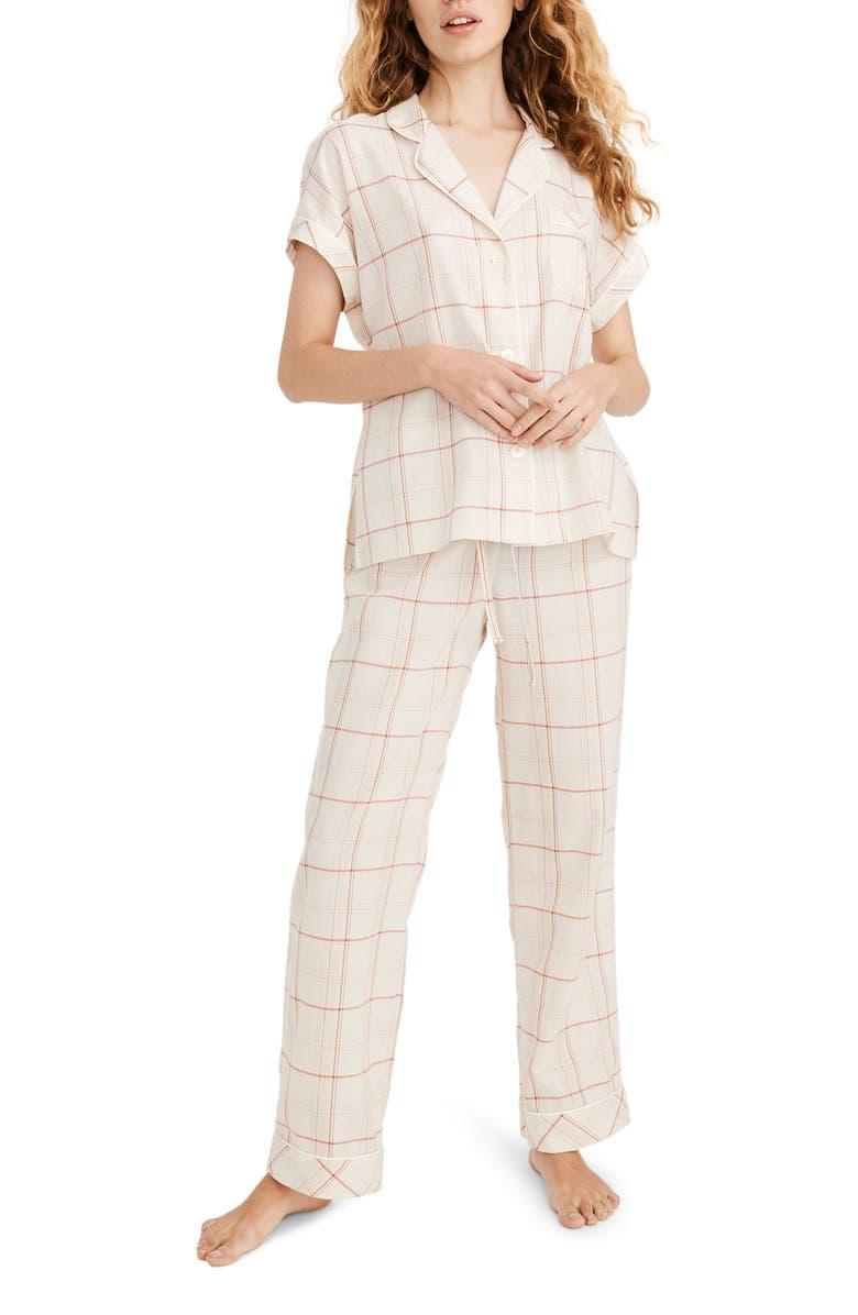 MADEWELL Fine Plaid Bedtime Pajamas, Main, color, FINE PLAID PEARL IVORY