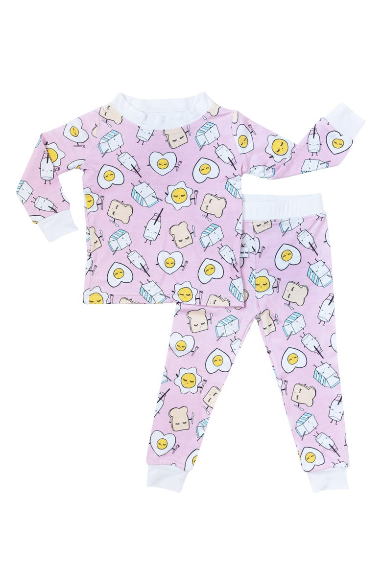 LITTLE SLEEPIES Breakfast Buddies Fitted Viscose Two-Piece Pajamas, Main, color, 650
