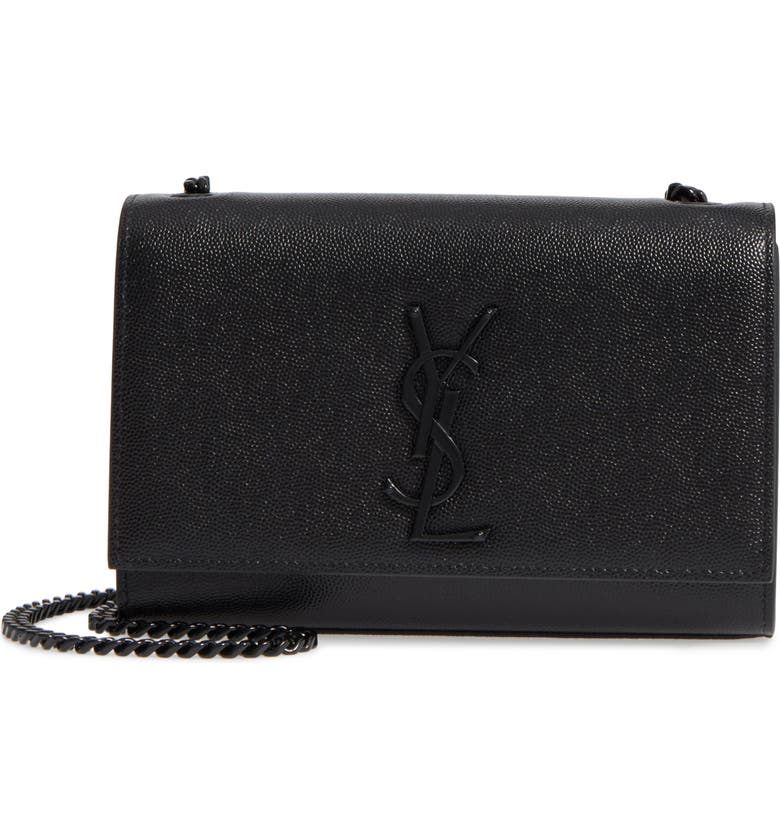 SAINT LAURENT Small Kate Leather Shoulder Bag, Main, color, BLACK